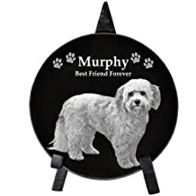 """Custom Marble Personalized Engraved Memorial Pet Plaque with Easel - Circle 6"""" diameter"""
