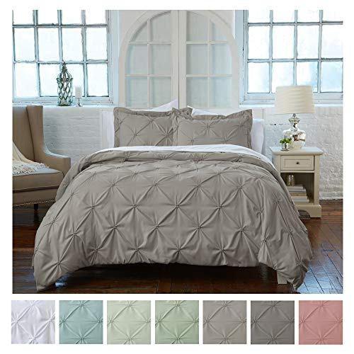 Signature Pinch Pleated Pintuck Duvet Cover 3 Piece Set with Button Closure. Luxuriously Soft 100% Brushed Microfiber with Textured Pintuck Pleats and Corner Ties (Full/Queen, Stone Grey) (Bedding Pleated)