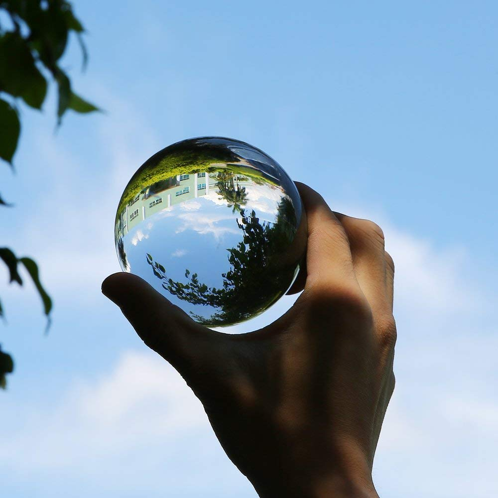 ERDUO 100mm Crystal Ball Quartz Verre Transparent Ball Sph/ères Feng Shui Boule de Verre Miniatures Ornements Cadeau