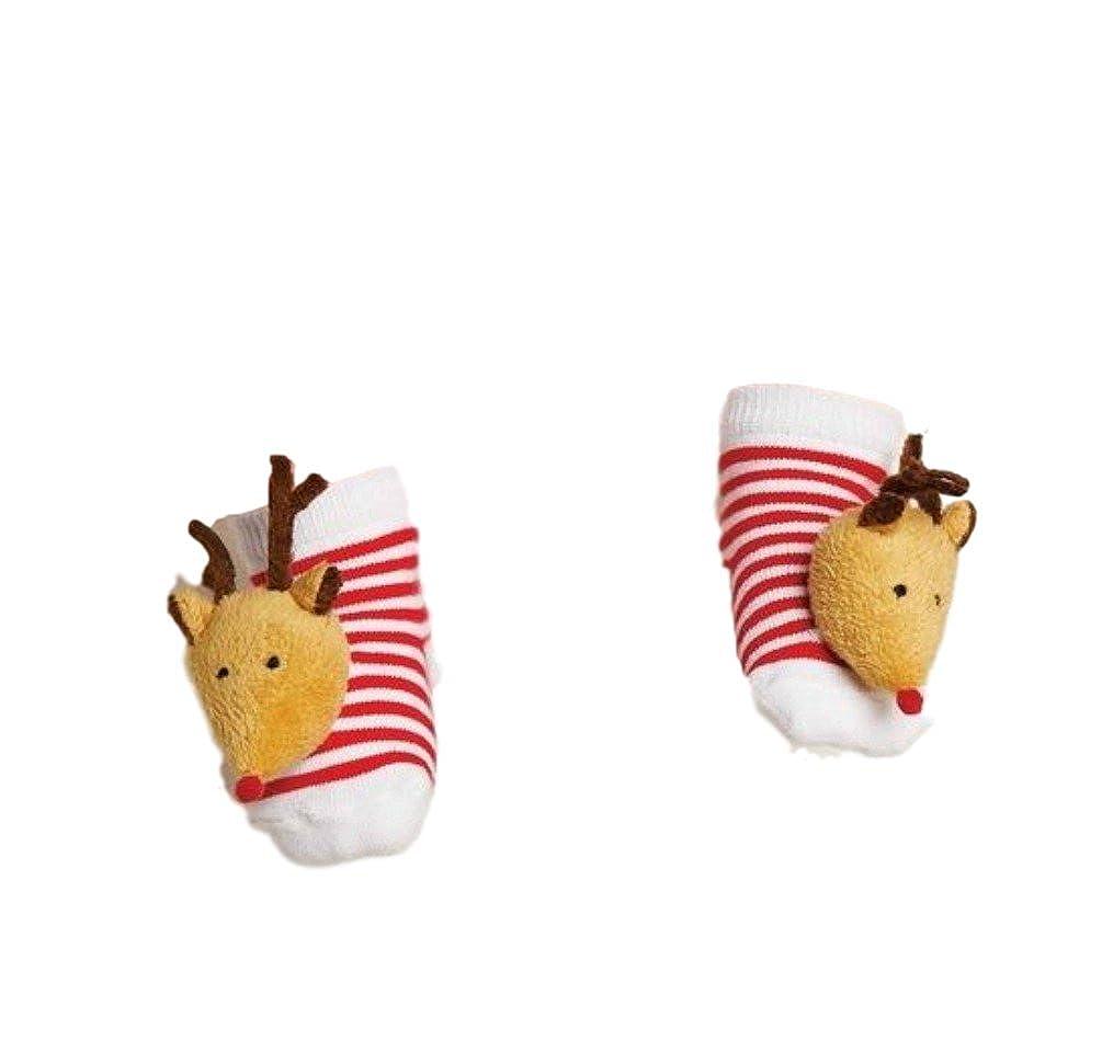 Mud Pie Holiday Rattle Toe Socks 0 – 12ヶ月 0 - 12 Months トナカイ B01M9JW9BC