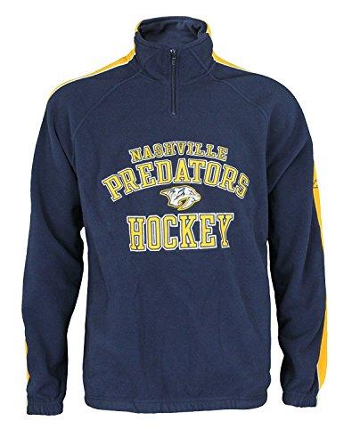 Reebok Nashville Predators NHL Mens Stelter 1/4 Zip Fleece Pullover, Navy