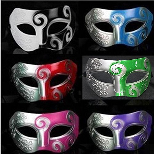 Dongcrystal 6 Pcs Men's Masquerade Mask Greek Roman Halloween Party Masks Baron Dance Performance Mask ()