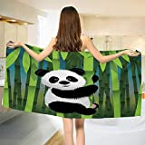 Chaneyhouse Cartoon,Bath Towel,Curious Baby Panda on Stem of The Bamboo Bear Jungle Wood Illustration,Bathroom Towels,Fern Green Black White Size: W 31.5'' x L 63''