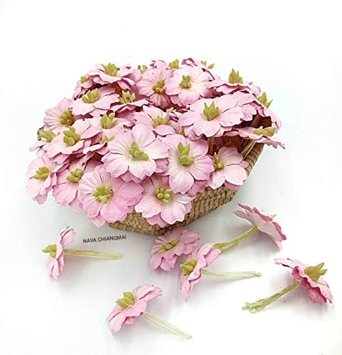 - NAVA CHIANGMAI Sakura Cherry Blossom Mulberry Paper Flower (No Wire stem) Craft Flowers, Artificial Flowers, Scrapbooking Paper Flowers,Decorative Flowers for Crafts. (Pink)