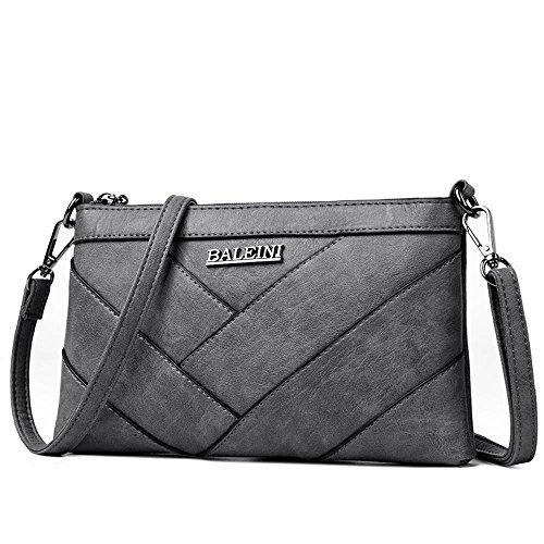Grey tamaño costura 25cmx3cmx15cm bandolera pequeño de satchel Penao pu hombro señoras moda ocio bolsa nwYSxPqO