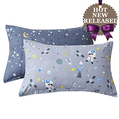 Brandream Kids Pillow Shams Set of 2 Standard Size 100% Cotton Space Galaxy Themed Decorative Pillow Covers