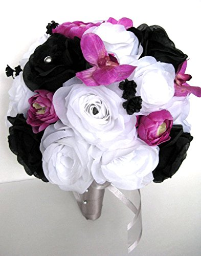 Amazon.com: Wedding flowers silk Bridal bouquet 17 piece Package ...