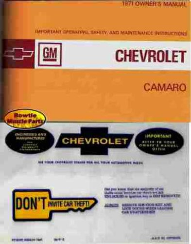 (1971 CHEVY CAMARO FACTORY OWNERS INSTRUCTION & OPERATING MANUAL PLUS A PROTECTIVE ENVELOPE. INCLUDES Z28, Z/28, RS, Rally Sport, SS, Super Sport. 71 CHEVROLET)