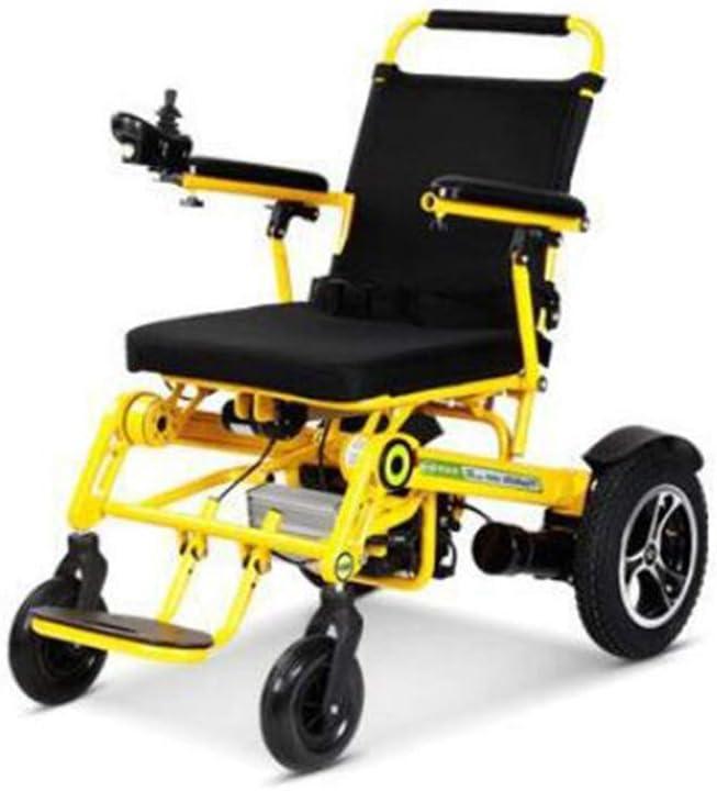 MMRLY Foldalite Silla de Ruedas, sillas de Ruedas eléctricas, 22AH / 25KM, posicionamiento GPS, 1 botón de Plegado, la Silla de Ruedas Todo Terreno para Ancianos discapacitados,Amarillo