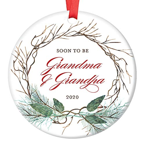 Pregnancy Announcement Christmas Ornament New Grandma & Grandpa 2020 Surprise New Grandparents Baby Due 2020 Pretty Holiday 3 Flat Circle Ceramic Keepsake Present with Red Ribbon & Free Gift Box