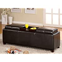Salford Espresso Bycast Leather Storage Bench w/ Trays