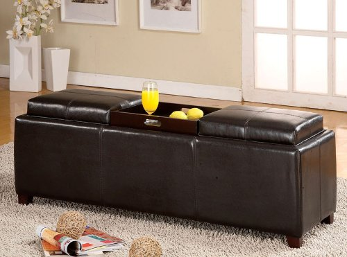 Legacy Decor Salford Espresso Bycast Leather Storage Bench w/Trays