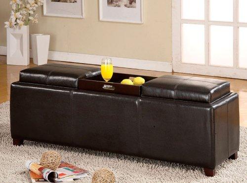 Salford Espresso Bycast Leather Storage Bench w/ Trays - Bycast Leather Bench
