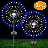 CrazyFire Solar LED Starburst Light with Remote Control,105 LEDs 35 Copper Wires Solar Powered Fairy Lights,DIY Flowers Tree for Walkway,Pathway,Backyard,Patio(2 Pack)
