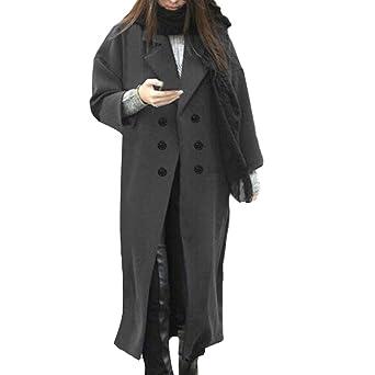 aaf48d2d4a8f AMUSTER Damen Mantel Zweireiher Wollmantel Knielang Wintermantel Einfarbig  TrenchCoat Langmantel Winter Wollmantel Damen Grau Grün Marineblau
