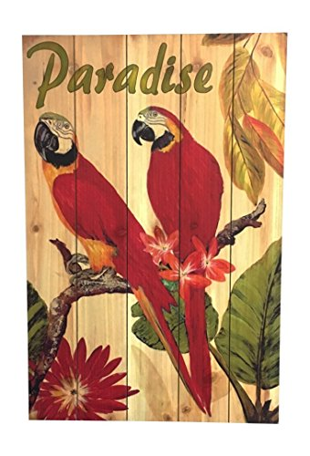 Birds in Paradise Wood Sign, Pair of Red Macaw Parrots, Wall Decor, 23.5