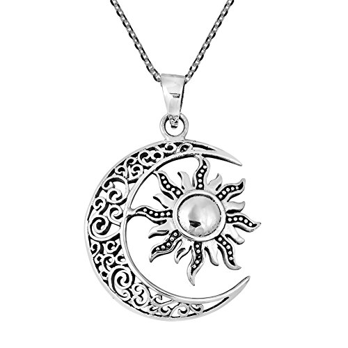 AeraVida Celtic Crescent Moon and Sun Eclipse .925 Sterling Silver Necklace ()