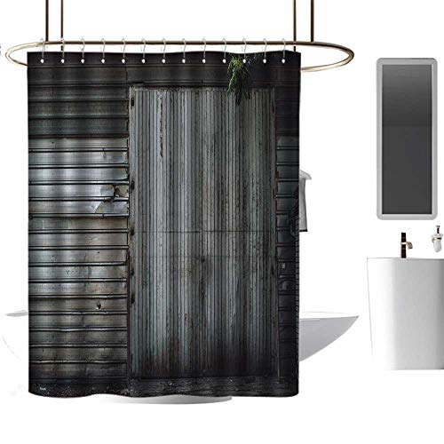(TimBeve Waterproof Fabric Shower Curtain Industrial,Obsolete Zinc Plated Steel Door Padlock Locked Gate Warehouse Print,Grey Green and Brown,Print Polyester Fabric Bathroom Decor Sets 60