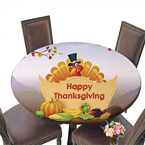 Printed Fabric Round Tablecloth,Happy Thanksgiving Wallpaper Background Washable Polyester up to 31.5''-33.5'' Diameter