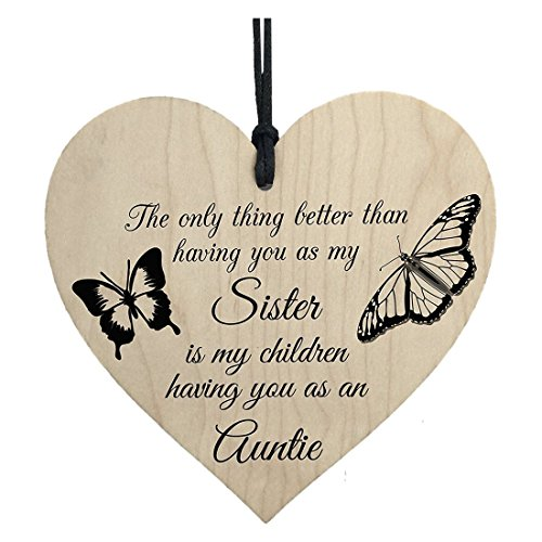 Plaques & Signs - My Children Having You As Their Auntie Love Gift Wooden Hanging Heart Aunt Sign - Crafts Quotes Signs Hanging Wood Sign Love Plaques Signs Aunt Necklace Love Sign Wood Block