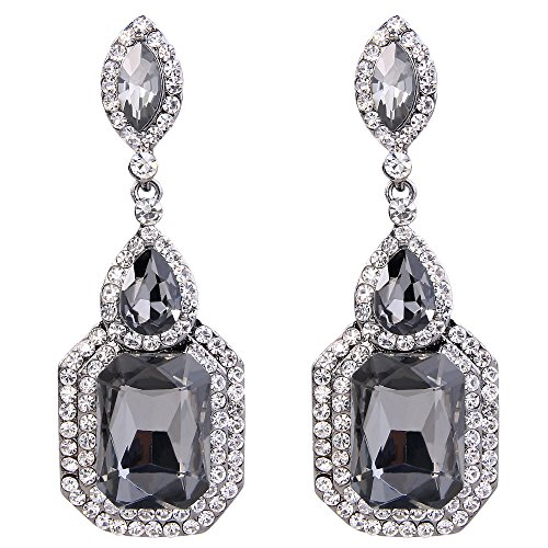 BriLove Wedding Bridal Dangle Earrings for Women Emerald Cut Crystal Infinity Figure 8 Chandelier Earrings Grey ()