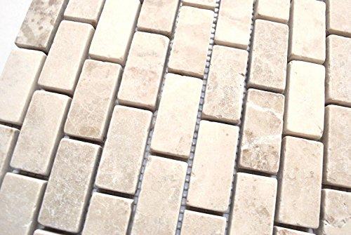 Cappucino 1x2 Tumbled Aged Marble Mosaic Tile Backsplash Wall and Floor