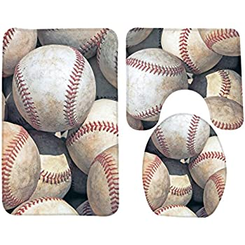 Wondertify Bath Mat,Baseball,Baseballs Sports Bathroom Carpet Rug,Non-Slip 3 Piece Bathroom Mat Set