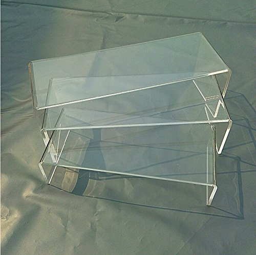 3 Pieces Set Clear Acrylic Shoe Display Rack Jewelry Showcase Display Stand Holder