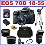 Canon EOS 70D DSLR Camera with 3 Lenses Pro Pack: Includes - Canon EF-S 18-55mm STM IS Lens + Telephoto & Wide Angle Lenses + Flash + Spare Battery + Camera Bag + Full Size Tripod + 32GB SDHC Memory Card + Card Reader + Lens Cleaning + 58mm UV filter
