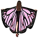 HTDBKDBK Butterfly Wings for Women, Butterfly Shawl Fairy Ladies Cape Nymph Pixie Costume Accessory Pink