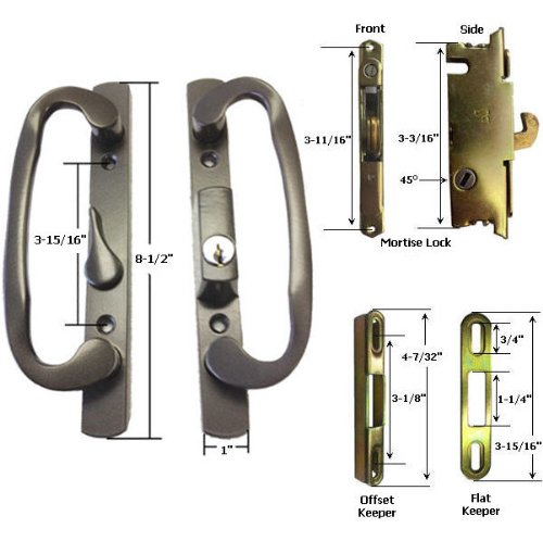 STB Sliding Glass Patio Door Handle Kit With Mortise Lock And Keeper,  Bronze, Keyed   Entry Door Handle Lock Sets   Amazon.com