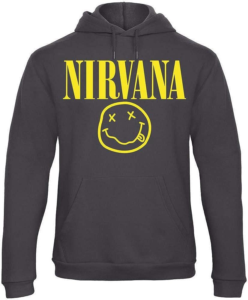 REITANO GROUP Sweats à Capuche Nirvana Smile Pull personnalisé Homme Sweatshirt Noir MAX113