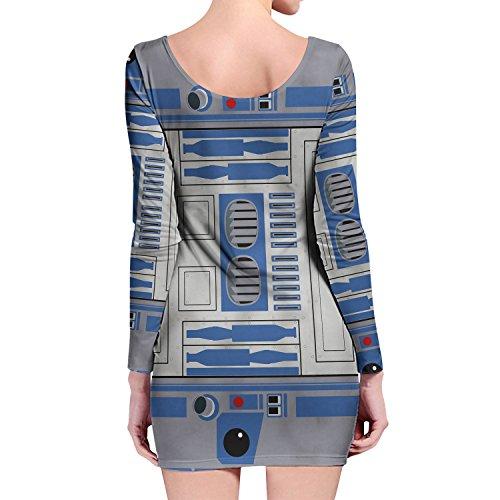 Little Blue Droid Longsleeve Bodycon Dress Kleid XS-3XL