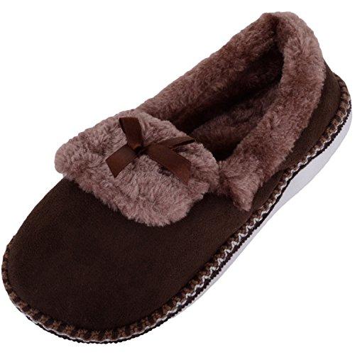 Absolute Footwear Womens Soft Fleece Slippers/Indoor Shoes With Faux Fur Inners Dark Brown
