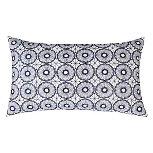 SLOW COW Cotton Linen Embroidered Lumbar Cushion Cover Pillowcase Geometric Pattern Designs Rectangular Throw Pillow Cover 12 x 20 Inches Navy Blue