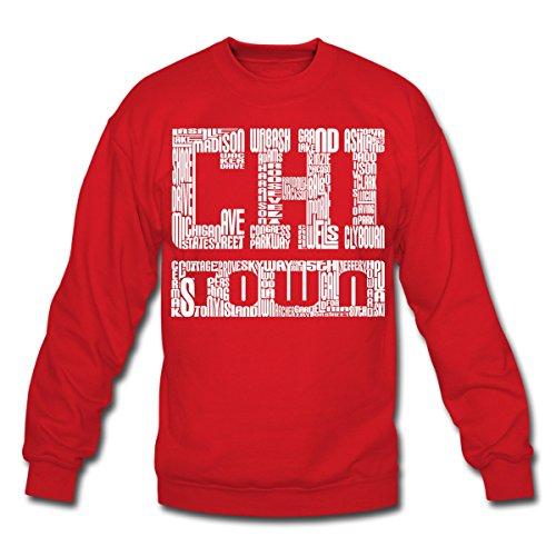 Spreadshirt Chi Town Streets Chicago Crewneck Sweatshirt, 2XL, red