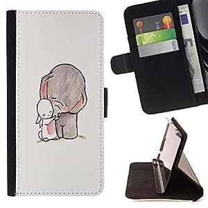 Super Marley Shop - Funda de piel cubierta de la carpeta Foilo con cierre magn¨¦tico FOR Samsung Galaxy Note 4 SM-N910 N910 IV- Elephant Cute Cartoon
