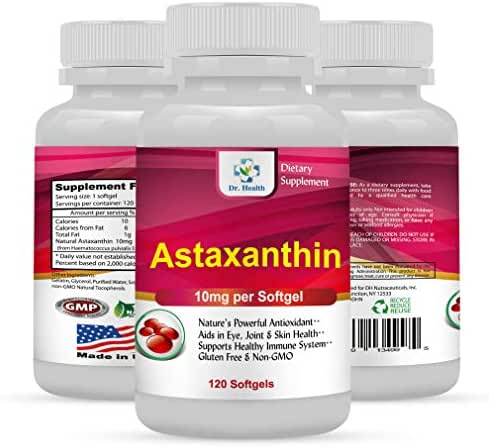 Astaxanthin 10mg 120 Softgels Powerful all Natural Antioxidant & Carotenoid High Purity Extra Strength Aids Eye, Brain, Joint, Skin, Heart Health & Anti-Aging (up to 4 months supply) 1 Bottle