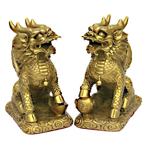 Fengshui Handmade Brass Kylin Statue Collectible Unicorn ...