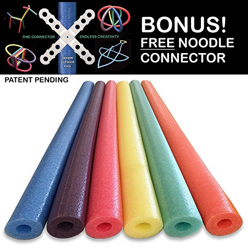 Oodles of Noodles Foam Pool Swim Noodles with Connector, 6-Pack, 52-Inch, Multicolored, Bulk Pack