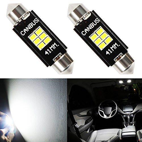 JDM ASTAR Extremely Bright Canbus Error Free GX-3020 Chips 1.72 41mm 211-2 212-2 578 LED Bulbs,Xenon White