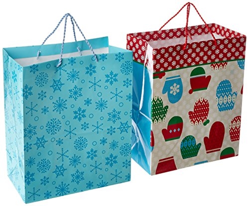 Hallmark Holiday Large Gift Bags (Mitten and Snowflakes, 2 Pack)