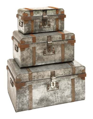Deco 79 38180 Metal Galvan Trunks (Set of 3), 23''/19''/15'' by Deco 79