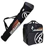 BRUBAKER ''Champion'' Combo Ski Boot Bag and Ski Bag for 1 Pair of Ski up to 170 cm, Poles, Boots and Helmet - Black Orange