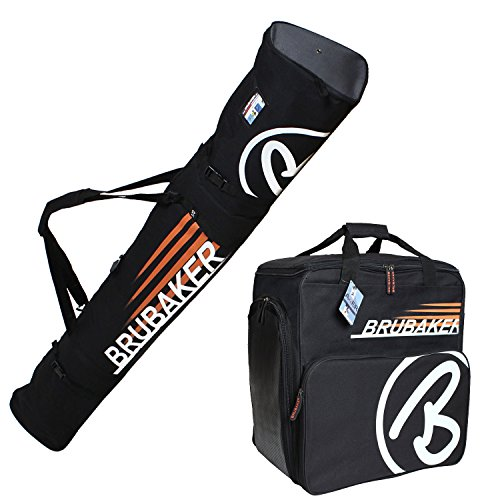 BRUBAKER ''Champion'' Combo Ski Boot Bag and Ski Bag for 1 Pair of Ski up to 170 cm, Poles, Boots and Helmet - Black Orange by BRUBAKER