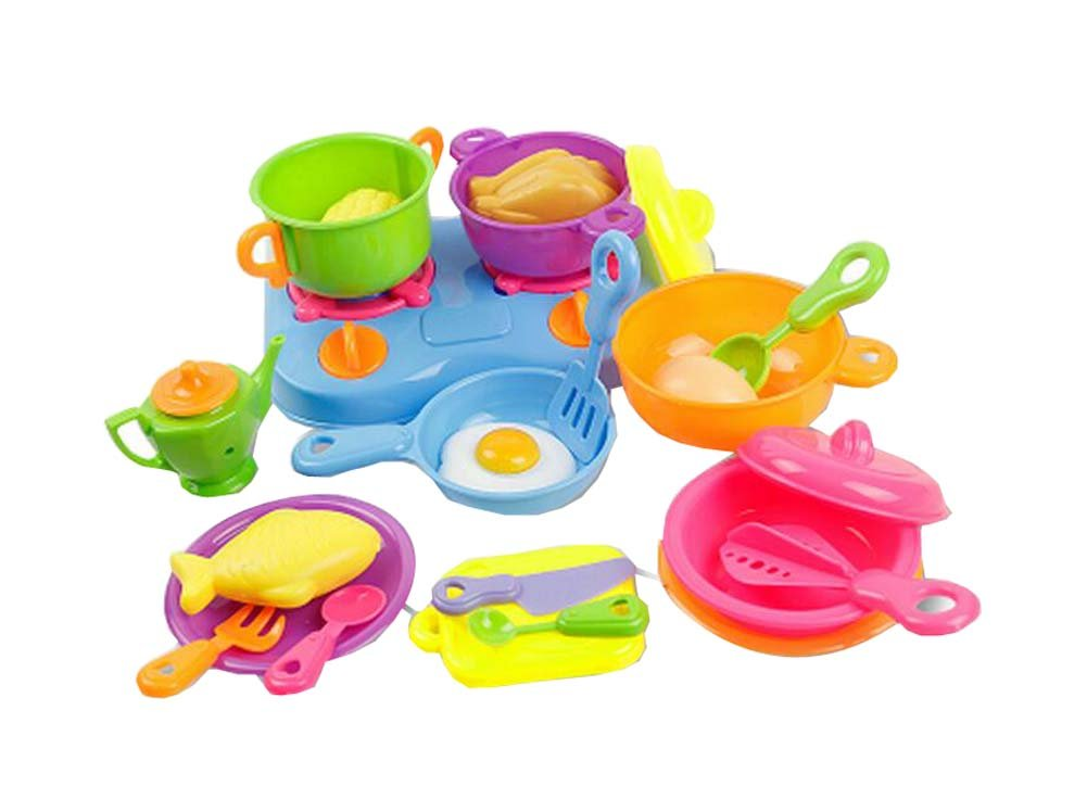 24 PCS Gas Stove Pots And So On Mini Children Kitchen With Toys Set Black Temptation