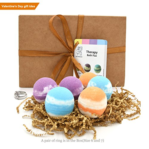 Price comparison product image Lush Bath Bombs with Ring Gift Set - Bathe Bomb 6 Vegan Aroma Spa Fizzes - Basin Bath Bombs Luxury Gift for Her/Him, Valentine, Wife, Girlfriend, Men or Birthday