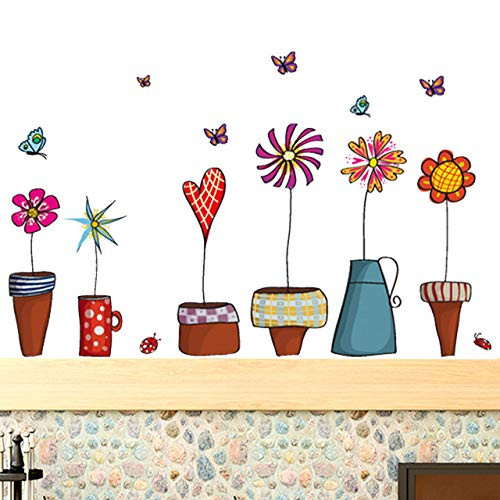 Wall Sticker Decal Removable Nursery Wallpaper Baby Mural Home School WindowFamily Art Home Removable Decor Room Vinyl (Cartoon Cute Flowers)