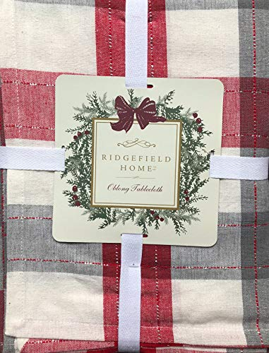 Ridgefield Home Fabric Cotton Christmas Holiday Scottish Plaid Tartan Pattern Tablecloth Shades of Red Gray White with Thin Silver Metallic Thread Stripes 60 Inches by 108 Inches -