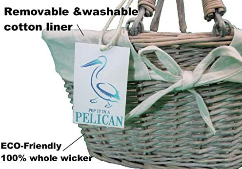 Cesta de Mimbre Color Gris 100/% Sauce Entero con Forro de algod/ón tama/ño peque/ño, 20 L Pop-it-in-a-pelican